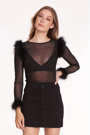 Sheer Mesh Fur Trim Top BLACK