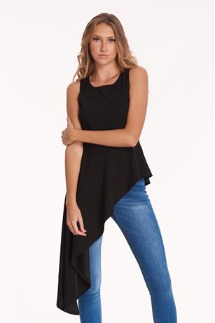 Asymmetrical High Low Top BLACK
