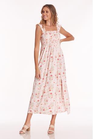 Print Ruffle Strap Dress PINK