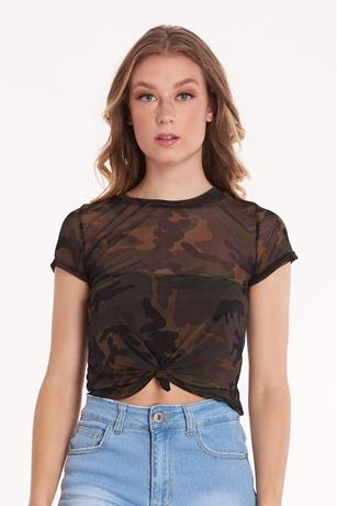 Sheer Mesh Camo Crop Top