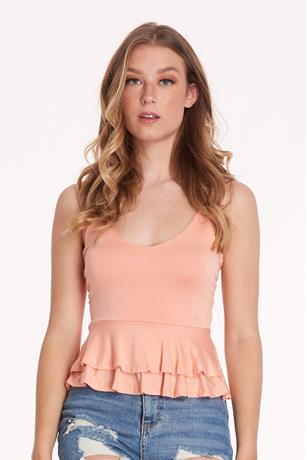 Tiered Peplum Top PEACH