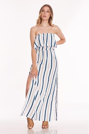 Printed Side Slit Maxi Dress BLUE