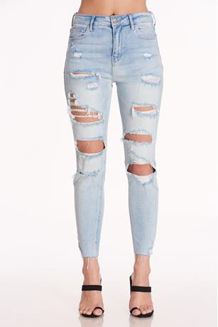 Ripped High Rise Crop Jeans LIGHT WASH