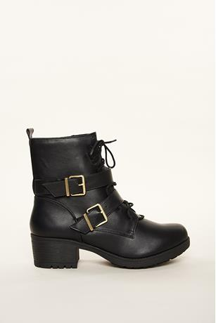Double Buckle Combat Boots BLACK