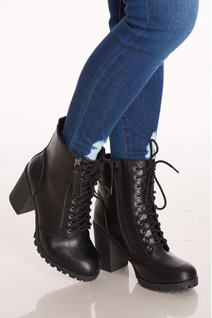 Zipper Lace Front Combat Boots BLACK