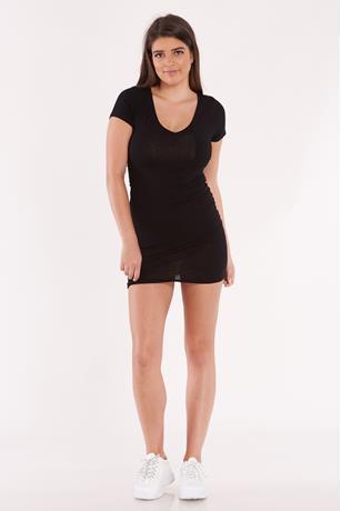 Cap Sleeve Bodycon Dress BLACK