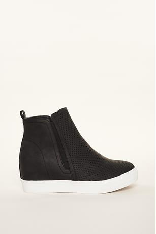 Perforated Sneaker Wedges BLACK