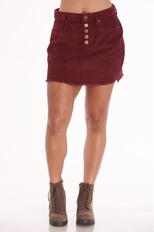 Red Corduroy Mini Skirt RED