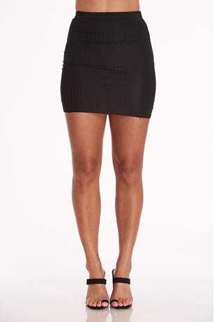 Ribbed Mini Skirt BLACK