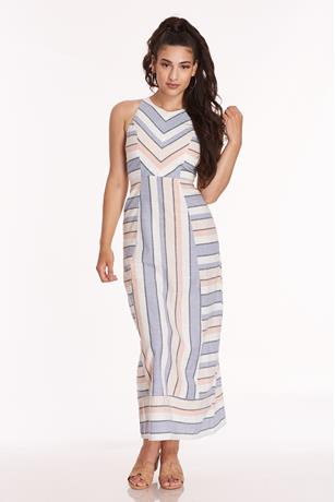 STRIPE MAXI DRESS MULTI