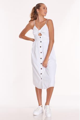 Front Tie Eyelet Dress WHITE