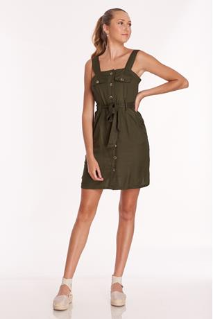 Button Down Twill Dress
