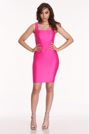 Square Neck Dress HOT PINK