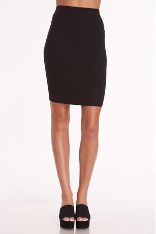 Solid Midi Skirt BLACK
