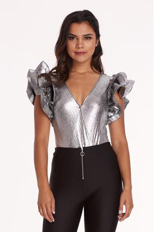Metallic Ruffle Sleeve Bodysuit