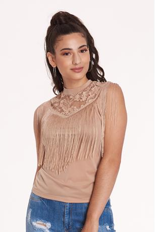 FRINGE MOCK NECK TOP