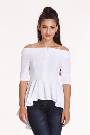 OFF SHOULDER PEPLUM TOP WHITE