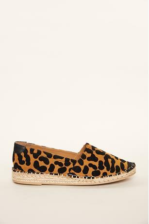 Leopard Espadrille Slip Ons CAMEL