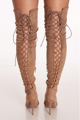 Lace Up Stiletto Boots TAUPE