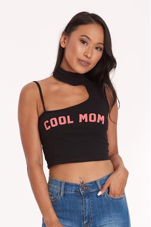 Cool Mom Mock Neck Top BLACK