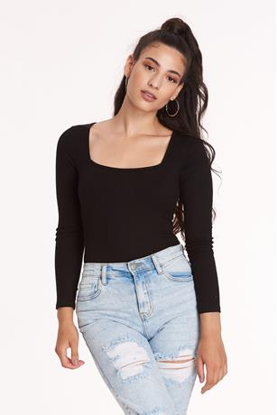 Square Neck Bodysuit BLACK