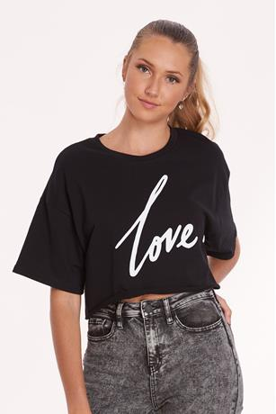 Love Crop Sweat Tee BLACK