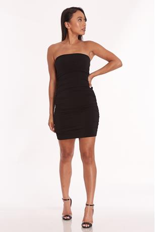 Ruched Tube Mini Dress BLACK