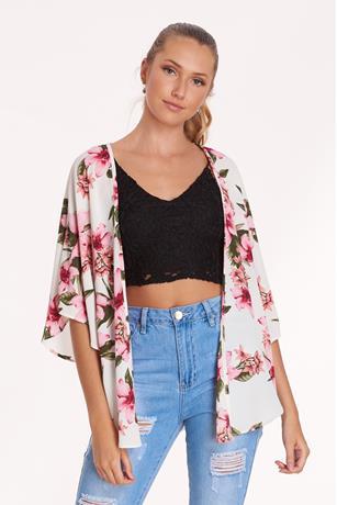 Printed Open Sleeve Kimono