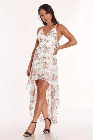 Floral Print High Low Dress IVORY