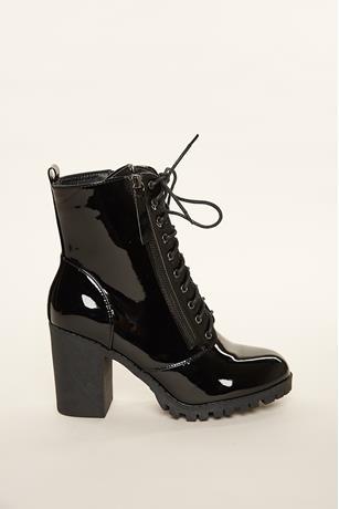 Faux Patent Leather Combat Boots BLACK