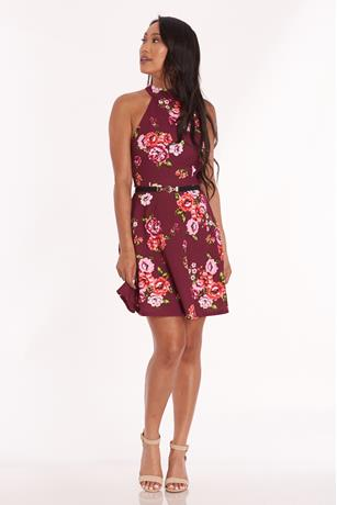 Floral Skater Dress PLUM