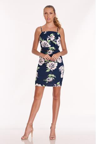 Floral Scuba Dress NAVY