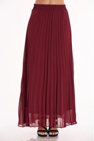Pleated Maxi Skirt WINE