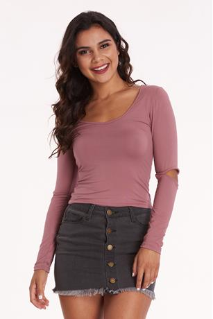 Cutout Crop Top MAUVE
