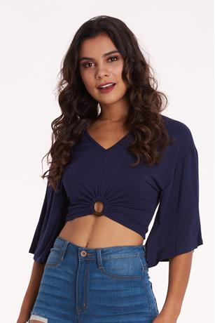 O-Ring Bell Sleeve Top NAVY