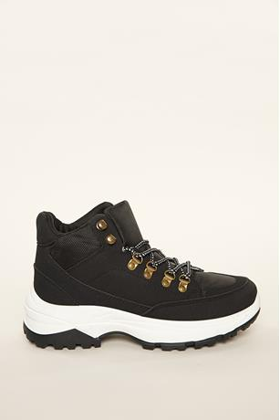 Faux Suede High Top Sneakers BLACK