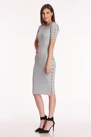 Ribbed Button Accent Midi Dress
