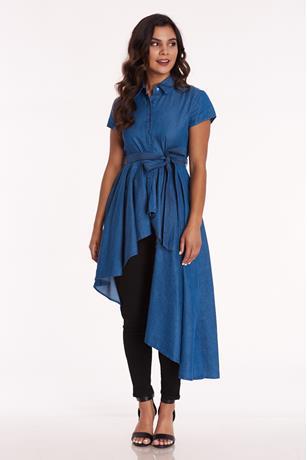 Chambray High Low Shirt BLUE