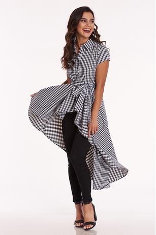 Gingham High Low Shirt BLKWHT