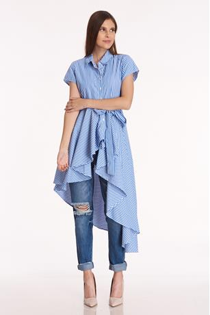 Striped High Low Shirt BLUEWHITE