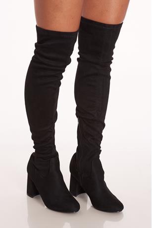 Chunky Heel Boots  BLACK