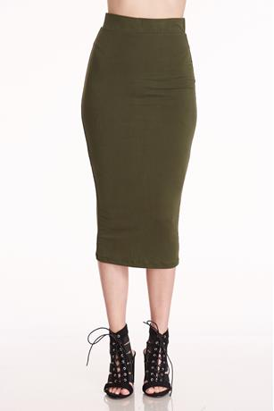 Bodycon Midi Skirt OLIVE