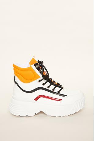 Contrast Platform Sneakers WHITE