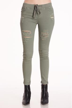 Olive Drawstring Jeans OLIVE