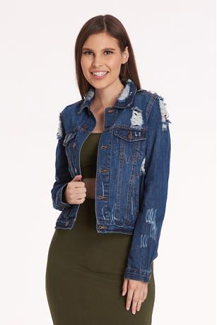 Distress Button Front Denim Jacket