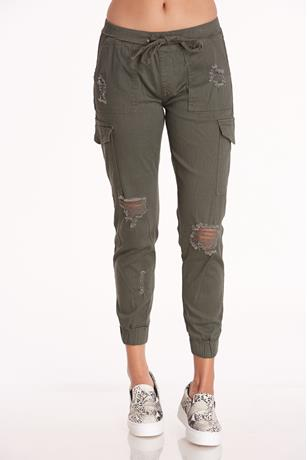 Distress Cargo Joggers OLIVE