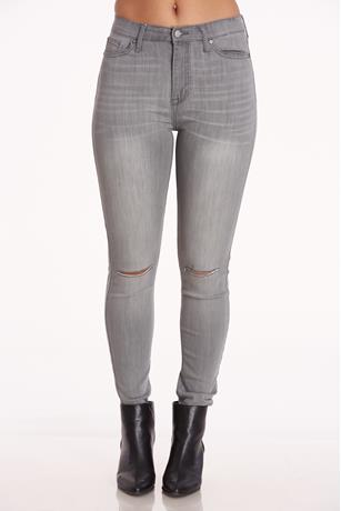 High Rise Skinny Ankle Jeans GRAY
