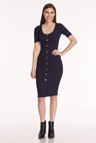 Ribbed Cap Sleeve Dress