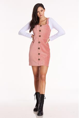Corduroy Button Front Dress ROSE