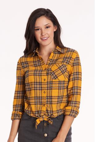 Tie Front Plaid Shirt YELLOW